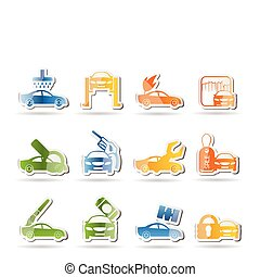 car and automobile service icon - vector icon set