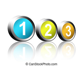 Numbers - Colored buttons with the numbers one, two, three...