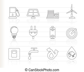 Ecology, power and energy icons