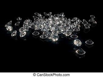 isolado, cintilante, fazendo, pretas, lote, diamantes,  3D