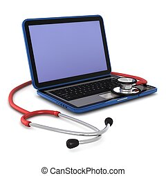 3d computer generated of a laptop with a stethoscope on it...