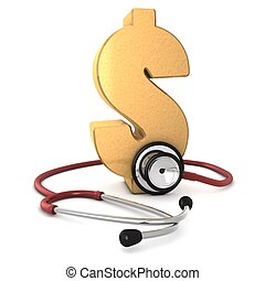 3d computer generated red stethoscope around a gold dollar...
