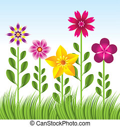 abstract flower background with grass -vector illustration
