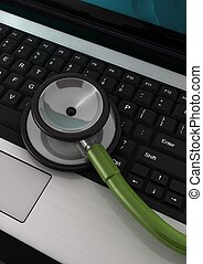 3d computer generated of a laptop with a  stethoscope on it  isolated on white background
