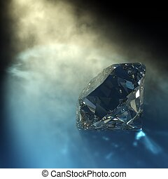3d rendering of a diamond with visible light and caustics