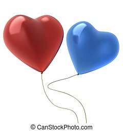 3d image of two hear shape balloons isolated on white...