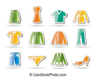 male and female Clothing Icons - Vector Icon Set