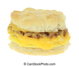 Biscuit and Sausage - A stock photo of a biscuit and sausage...