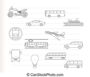 Travel and transportation of people icons - vector icon set