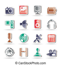 Media and household equipment icons