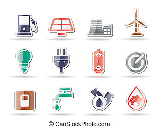 Ecology, power and energy icons - v