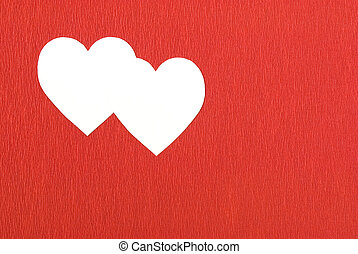 Double heart in red background
