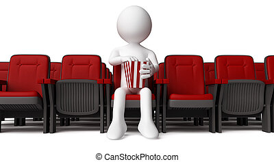 3D human at cinema - 3D human sitting on armchair and eating...