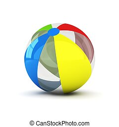 3d computer generated image of a colorful beachball isolated on white background