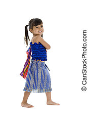 little girl in traditional thai clothes isolated on white...