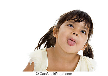 beautiful little girl sticking her tongue out, isolated on...