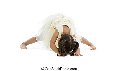 little girl trying to do the splits, isolated on white...