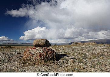 Mongolian landscape - Mountain lake Dayan Nuur in Mongolian...