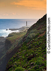 The lighthouse at Punta Cumplida in Barlovento, La Palma,...