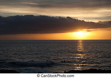 sunset in Tazacorte, La Palma, canary islands, spain -...