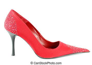 alto, mulher, vermelho, calcanhar, sapato