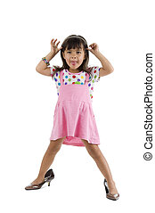 girl with oversized shoes sticking tongue out - cute little...