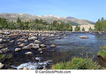 Rapid mountain river in Mongolian Altai - Dayan Nuur lake...