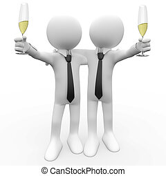 Friends making a toast with a glass of champagne