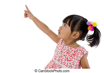 little girl pointing at something