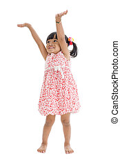 cute girl with arms up - cute girl trying to reach...