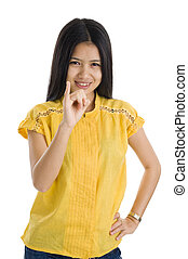 young woman showing little finger
