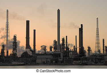 Oil refinery at sunset in Anwerp port