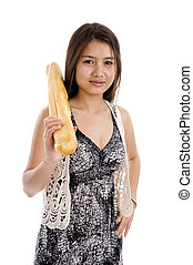 woman with french bread - pretty woman with a baguette,...