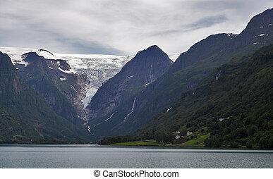 ghiacciaio, montagne, lago, sopra