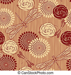 vector seamless background with vintage flowers and...