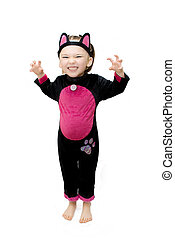 Little girl wearing cat fancy dress.