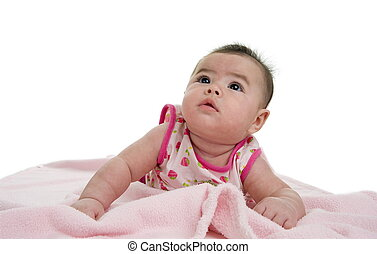 multi-racial baby looking up - cute asian-caucasian baby on...
