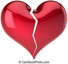 cassé, rouges, coeur, devant, vue