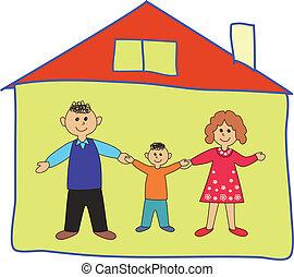 heureux, famille, maison