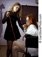 lady techer and student in a classroom - seductive teacher...