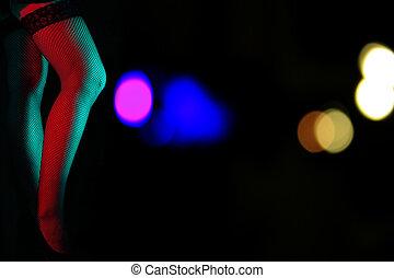 femmina, gambe, notte