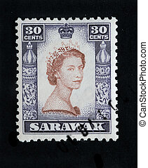SARAWAK - CIRCA 1953 - First day cover postage stamp marking...