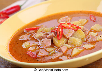 Wurst goulash with chili - Wurst goulash soup with meat...