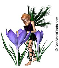 Spring Crocus Fairy - Purple - Spring crocus fairy with...