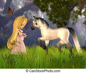 Cute Fairytale Princess and Unicorn
