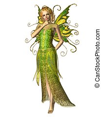 Fairy Spring Spirit - Fairy spirit dressed in yellow and...