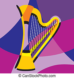 harp - vector image harp Stylization of color overlapping...