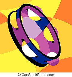tambourine - vector image tambourine. Stylization of color...