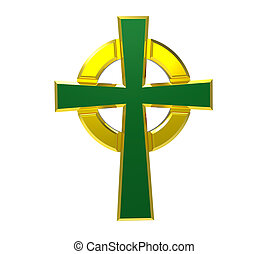 Celtic cross isolated on white 3d render