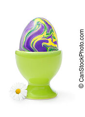 Easter egg with happy colors - Isolated studio shot of a...
